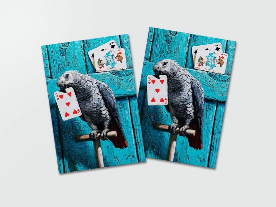 Почтовая открытка «Попугай» из коллекции работ Марии Павловой
