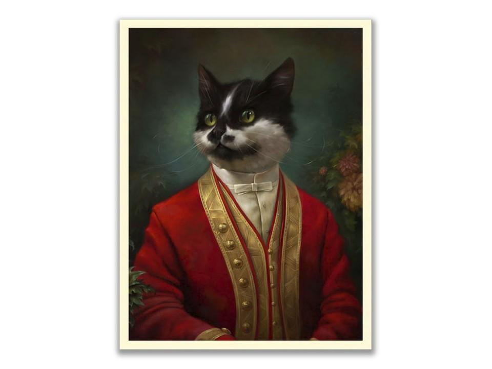 Открытка. Коллекция Эрмитажные коты. Парадный костюм придворного официанта