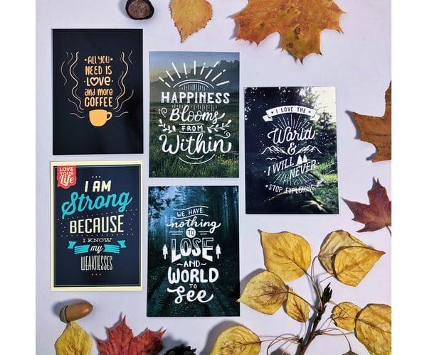 Почтовые открытки для postcrossing с мотивирующими фразами