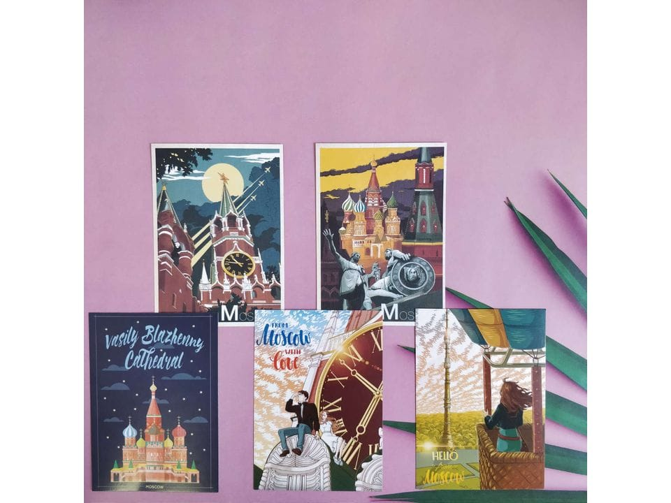 Почтовые открытки про Москву в наборе из нескольких серий