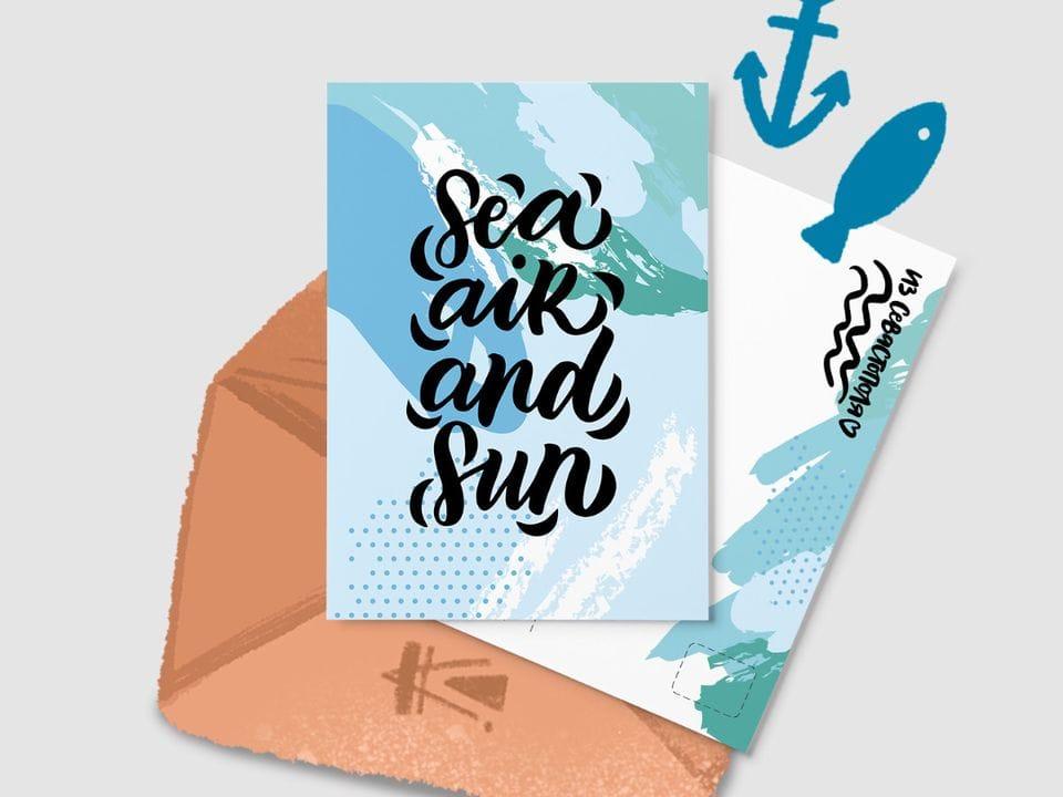 Почтовая открытка «Sea Air and Sun» из серии открыток о Крыме и Севастополе