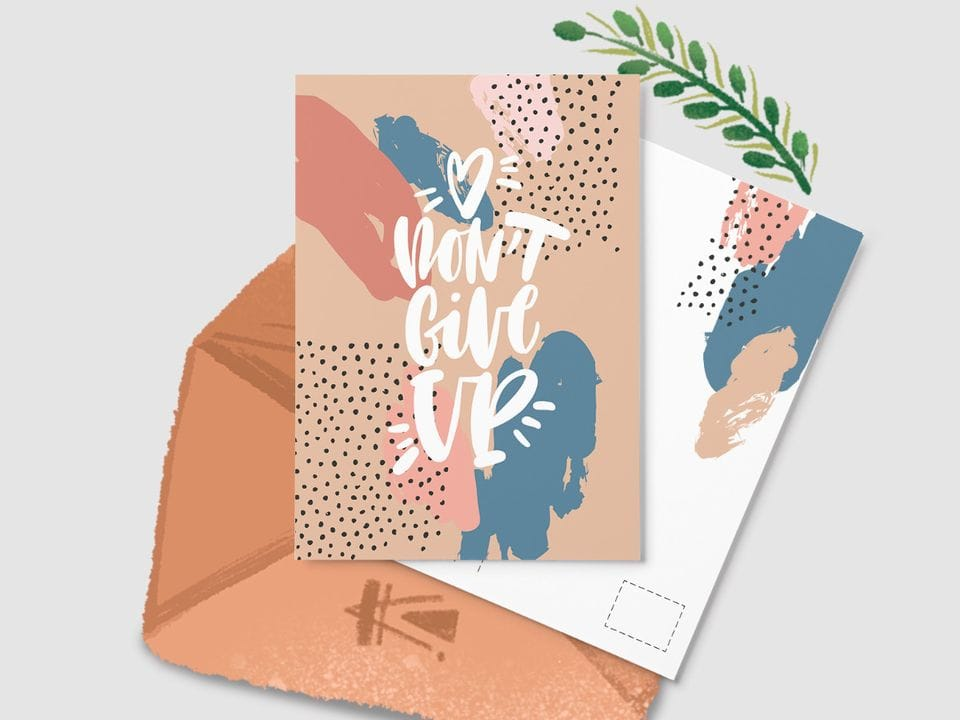 Открытка почтовая «Don't give up» из серии открыток Ксении Кучерявы