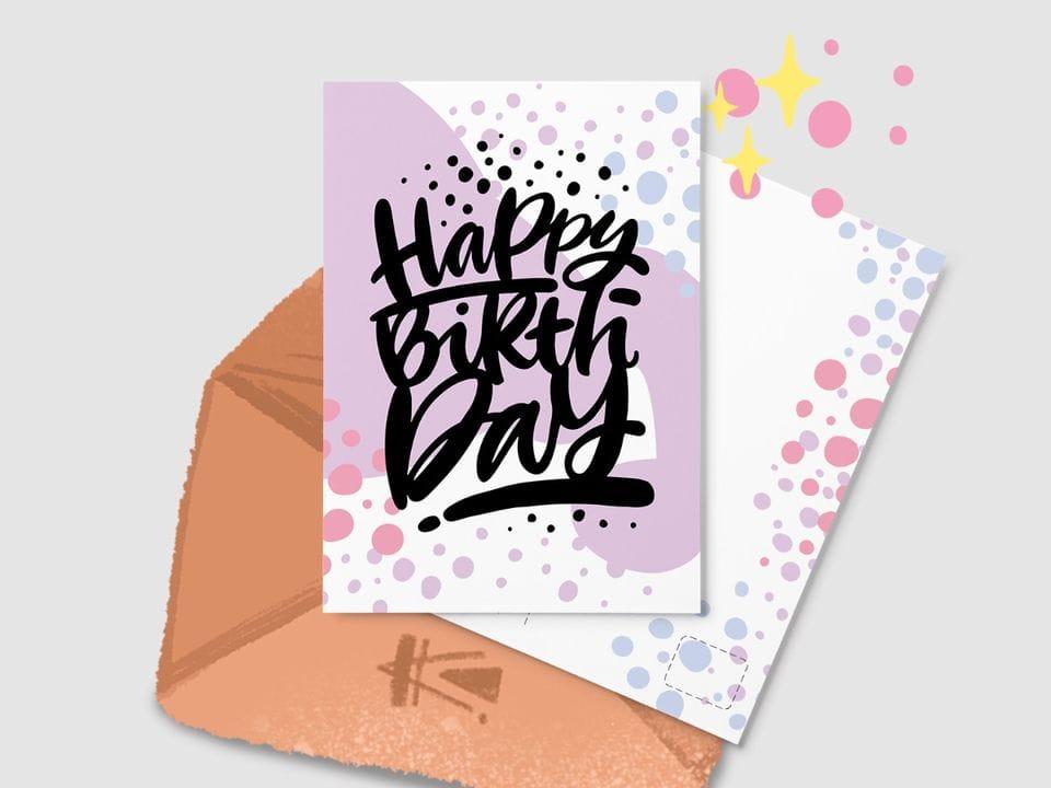 Почтовая открытка «Happy Birthday» из серии открыток Ксении Кучерявы