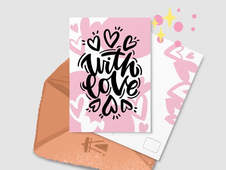Почтовая открытка «With love» из серии открыток Ксении Кучерявы