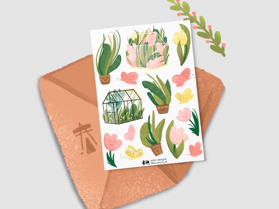 Наклейки осенние «Растения» из серии стикеров Ксении Кучерявы