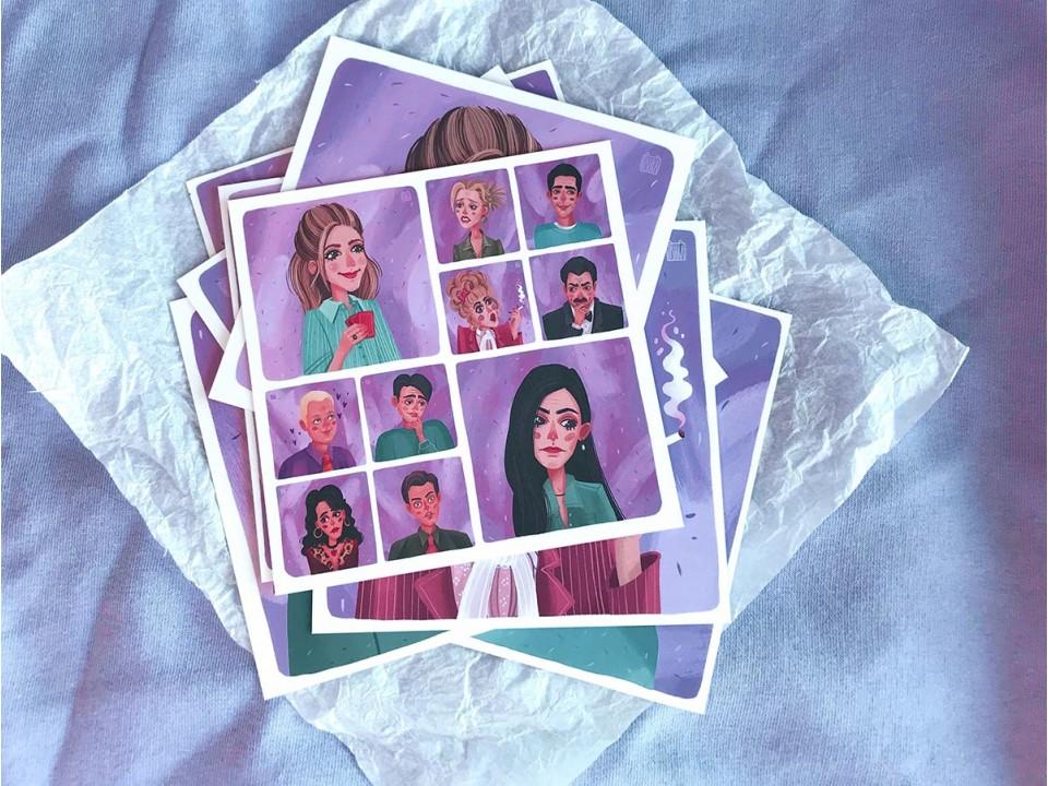 Набор квадратных открыток «Друзья»