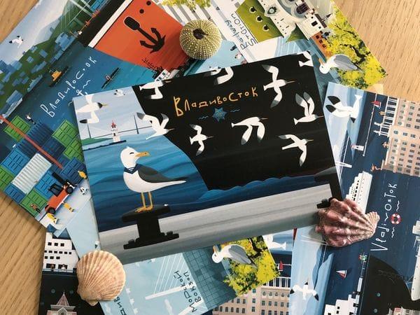 Почтовая открытка «Чайки и Токаревский маяк», Владивосток
