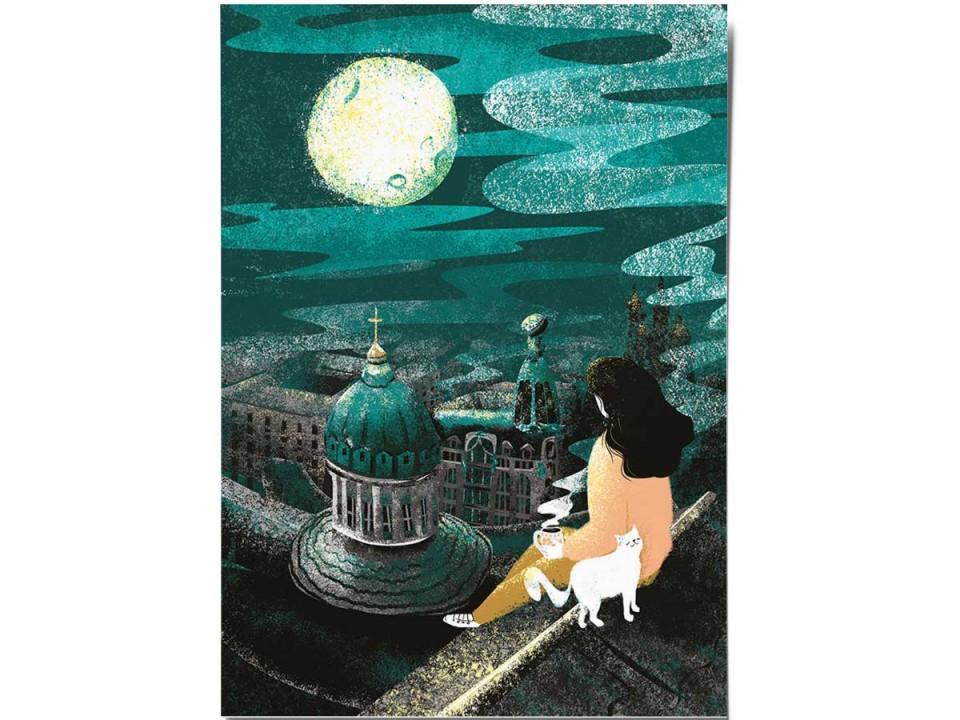 Открытка «Над городом», иллюстратор Дарья Ноксо