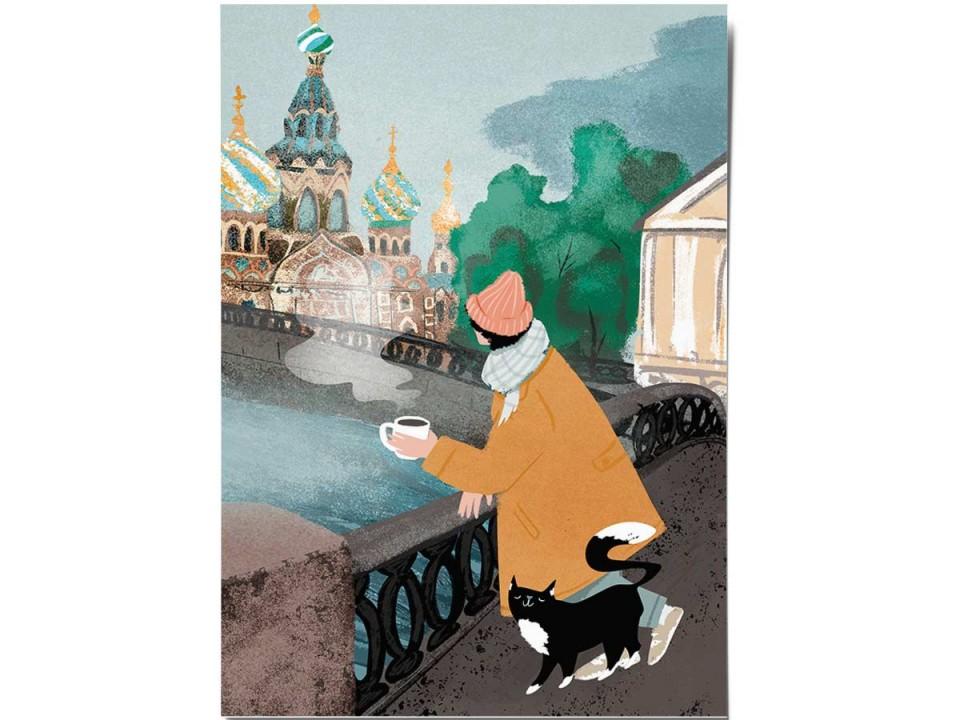 Открытка «Возле Спаса», иллюстратор Дарья Ноксо