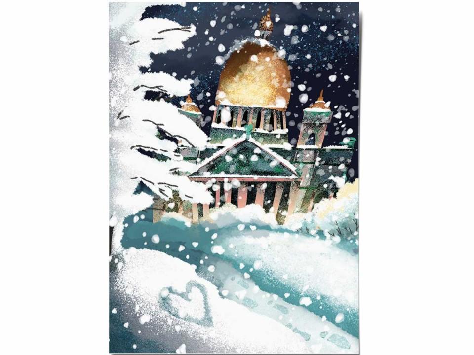 Открытка «Зимний Исаакий», иллюстратор Дарья Ноксо