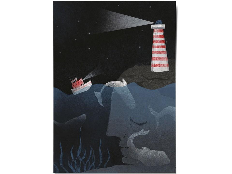 Открытка «Свет маяка», иллюстратор Дарья Ноксо