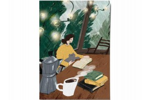 Открытка Дарья Ноксо «Книги и кофе»