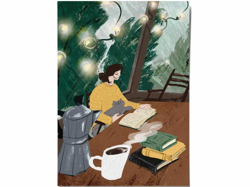 Открытка «Книги и кофе», иллюстратор Дарья Ноксо