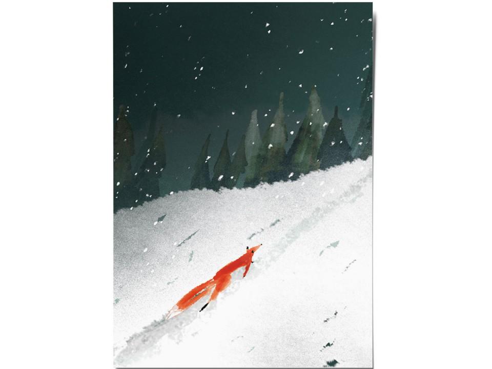 Открытка «Лиса», иллюстратор Дарья Ноксо