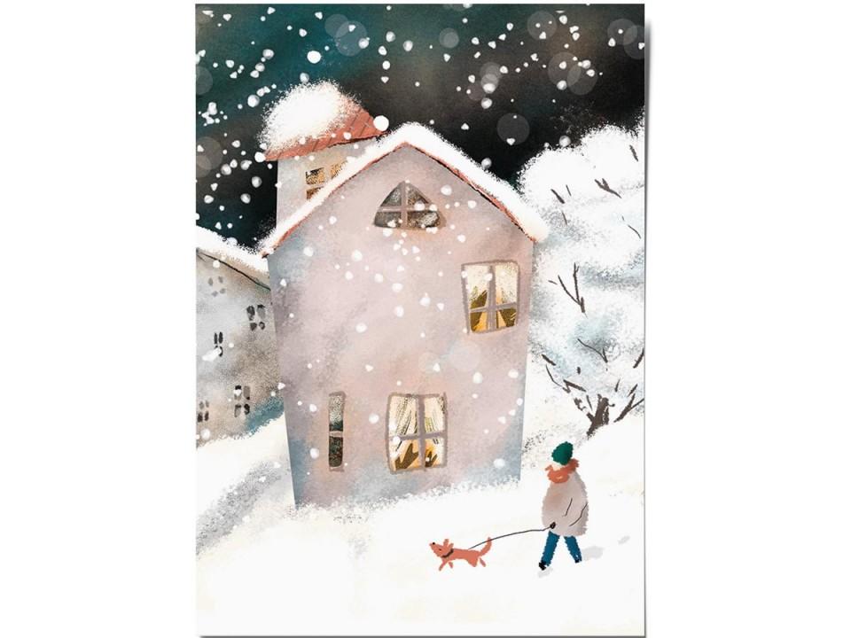 Открытка «Снежный дворик», иллюстратор Дарья Ноксо
