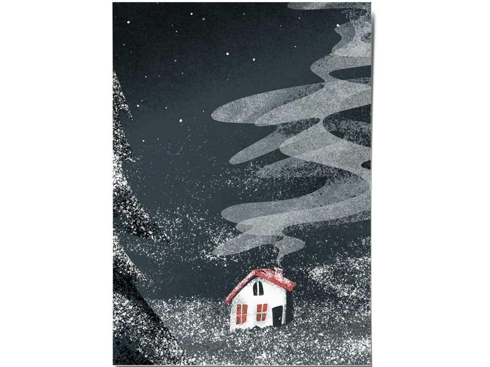 Открытка «Ночной домик», иллюстратор Дарья Ноксо