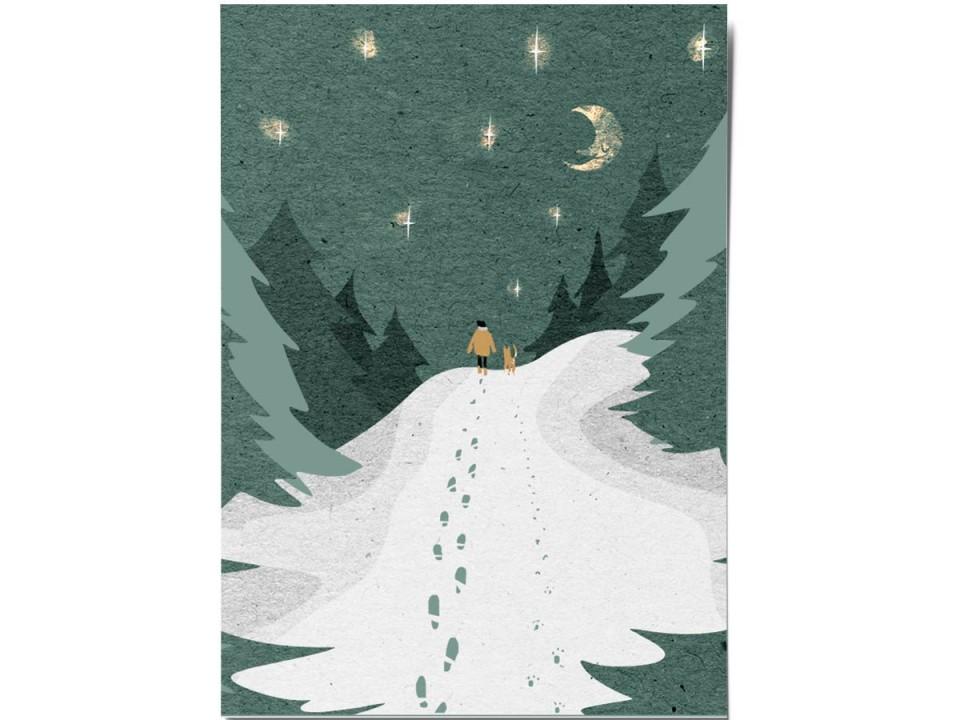 Открытка «Лесная прогулка», иллюстратор Дарья Ноксо