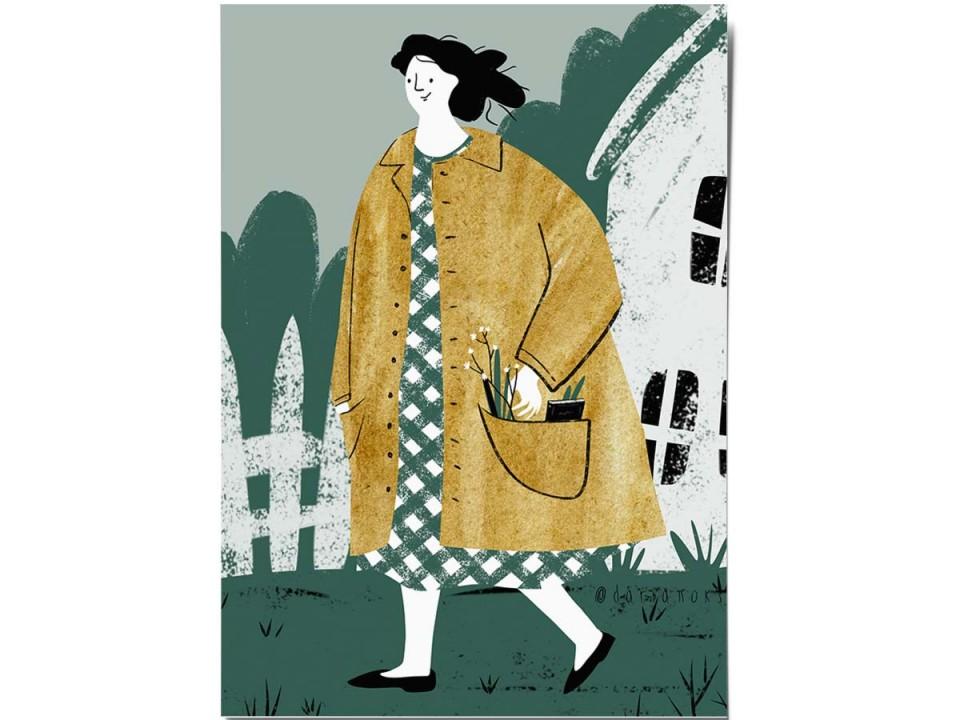Открытка «Весенняя прогулка», иллюстратор Дарья Ноксо