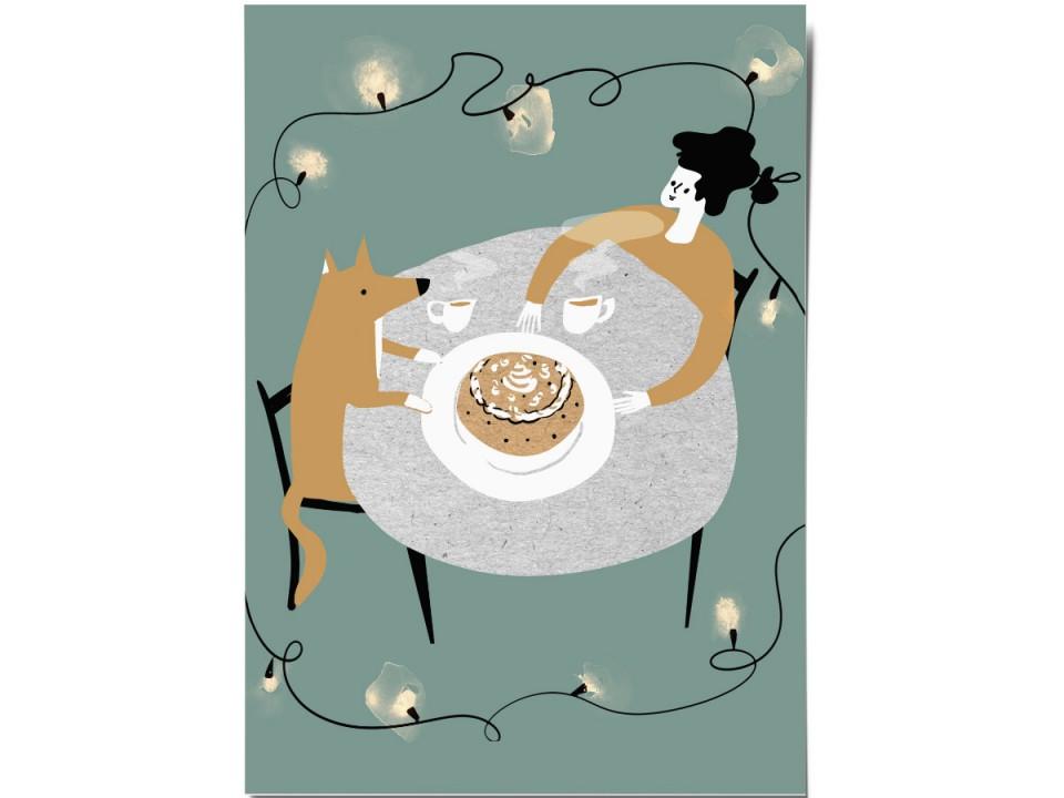 Открытка «Ужин и пирог», иллюстратор Дарья Ноксо