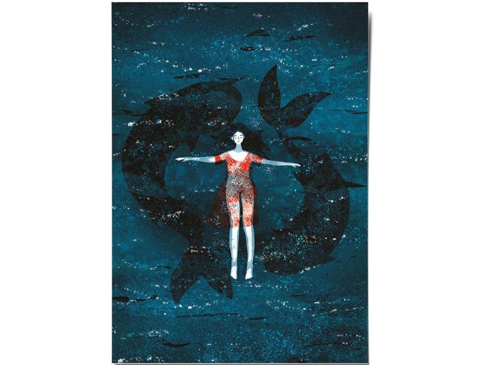 Открытка «В воде», иллюстратор Дарья Ноксо