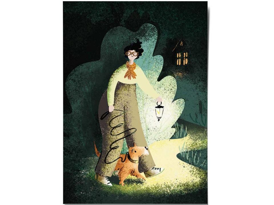 Открытка «Прогулка с фонарем», иллюстратор Дарья Ноксо