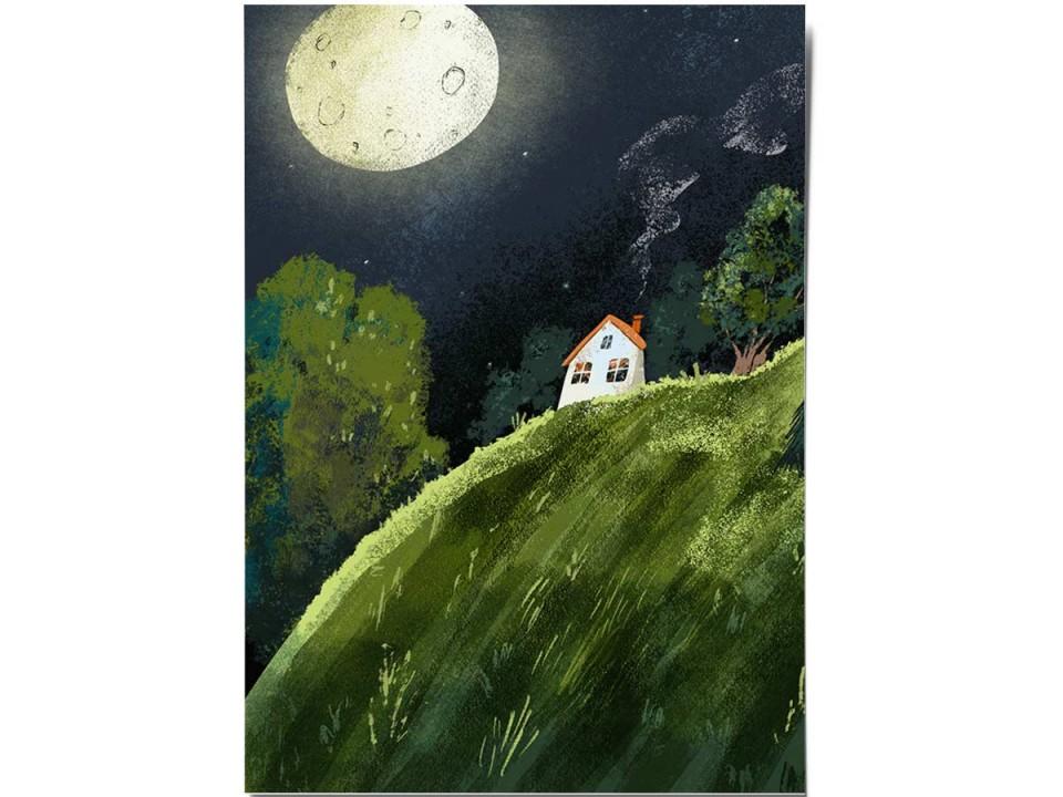 Открытка «Домик на холме», иллюстратор Дарья Ноксо