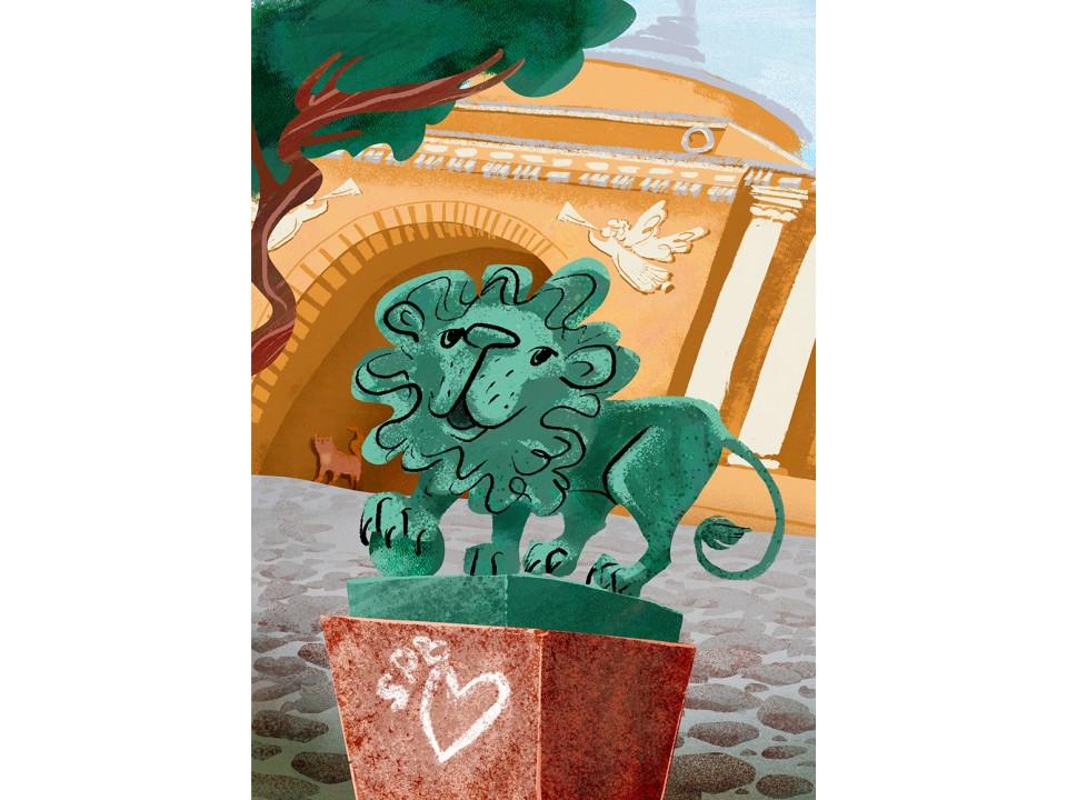 Открытка «Адмиралтейский Лев», иллюстратор Дарья Ноксо