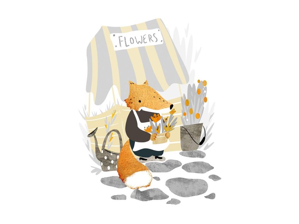 Открытка «Цветочная лавка лисёнка», иллюстратор Дарья Ноксо