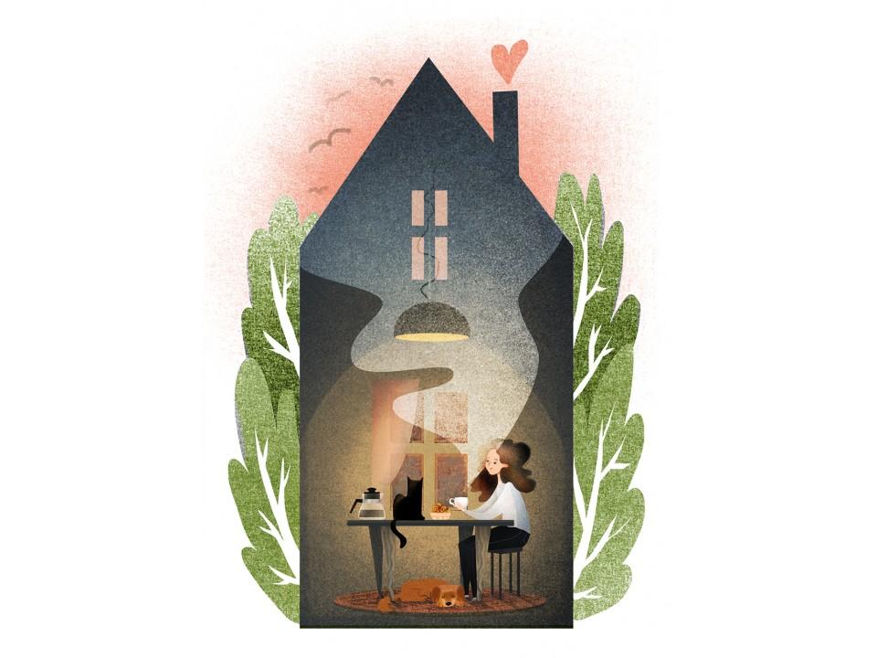 Открытка «Домашнее чаепитие», иллюстратор Дарья Ноксо
