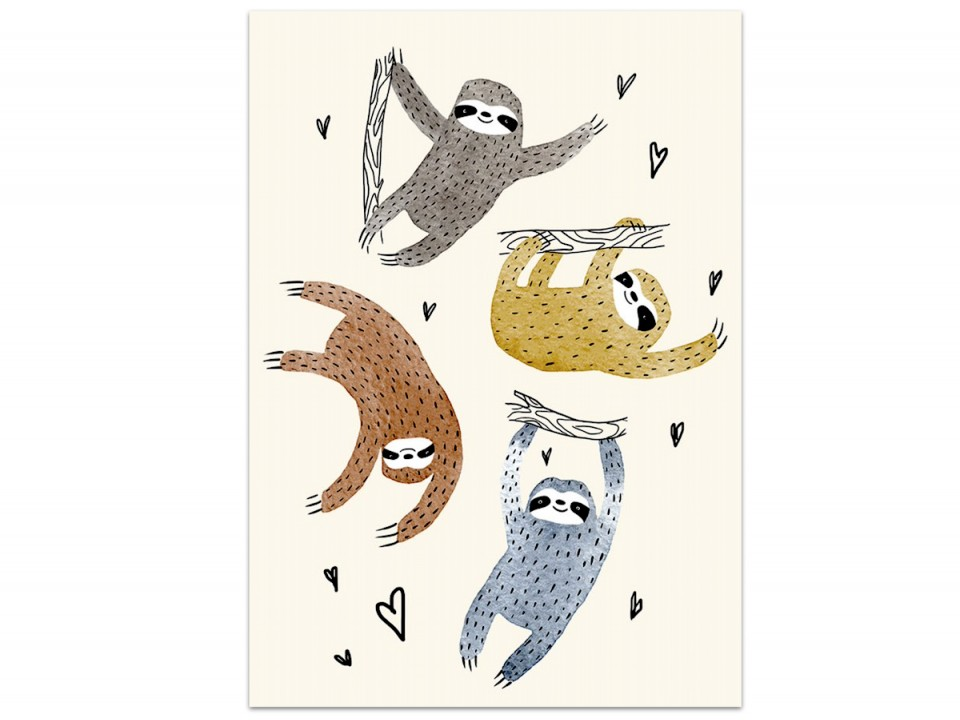 Открытка «Банда ленивцев», иллюстратор Дарья Ноксо