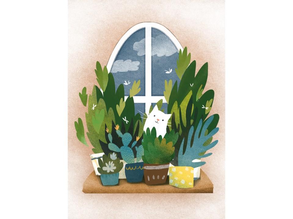 Открытка «Весенний подоконник», иллюстратор Дарья Ноксо