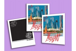 Открытка полароид «Кремль и высотки» dange polaroid, Москва