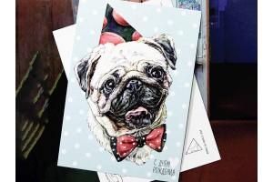 """Почтовая открытка """"Счастливый Мопс"""" с поздравлением"""