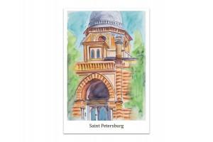 Почтовая открытка «Большая хоральная Синагога, Санкт-Петербург», акварель