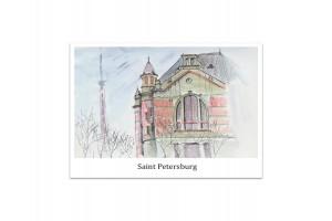 Почтовая открытка «Электротехнический институт», акварель