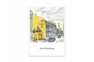 Почтовая открытка «Сквер Сергея Доавлтова», акварель