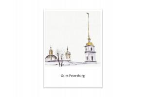 Почтовая открытка «Петропавловская крепость», акварель