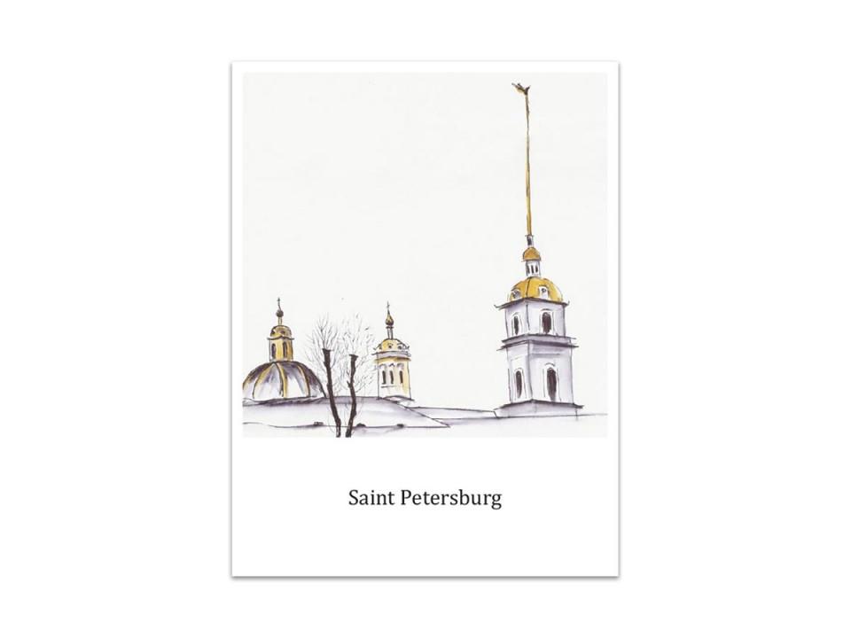 Открытка «Петропавловская крепость», акварель