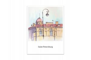 Почтовая открытка «Северный пакгауз Биржи», акварель