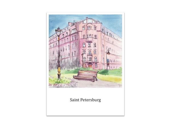 Почтовая открытка «Мытнинская наб, Петербург.», акварель