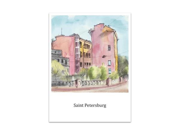 Почтовая открытка «Жилой дом на наб. Грибоедова», акварель