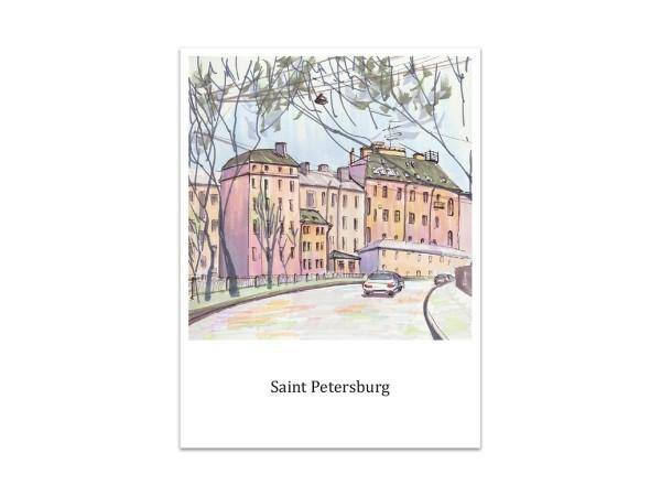 Почтовая открытка «Петроградская сторона, Петербург», акварель