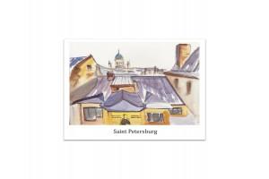 Почтовая открытка «Санкт-Петербург, крыши», акварель