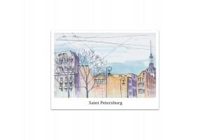 Почтовая открытка «Петроградка», акварель