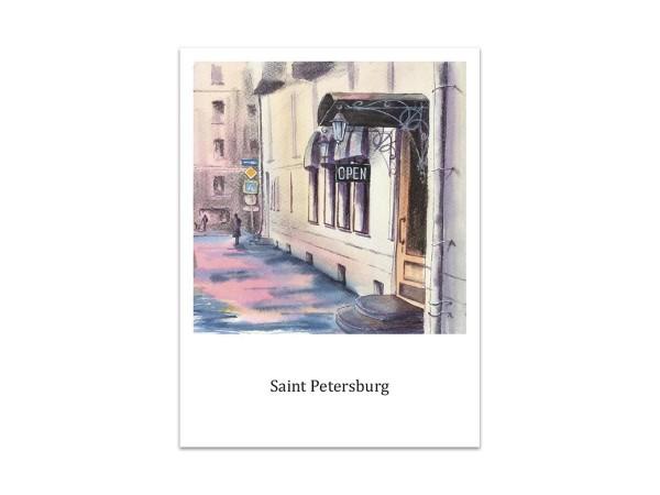 Почтовая открытка «ул. Ленина, Петроградская сторона», акварель