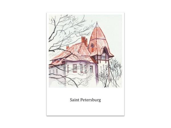Почтовая открытка «Особняк Фолленвейдера», акварель
