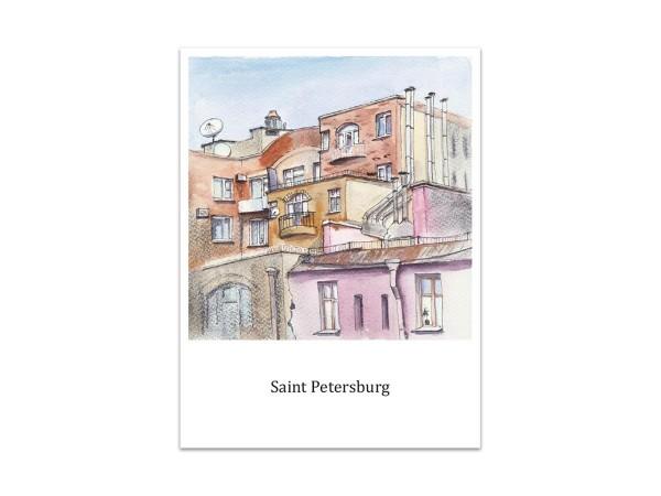 Почтовая открытка «Малый проспект Петроградской стороны», акварель
