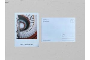 Почтовая открытка фото «Дом Бухгольца», винтовая лестница вид сверху, Валерия Кузнецова