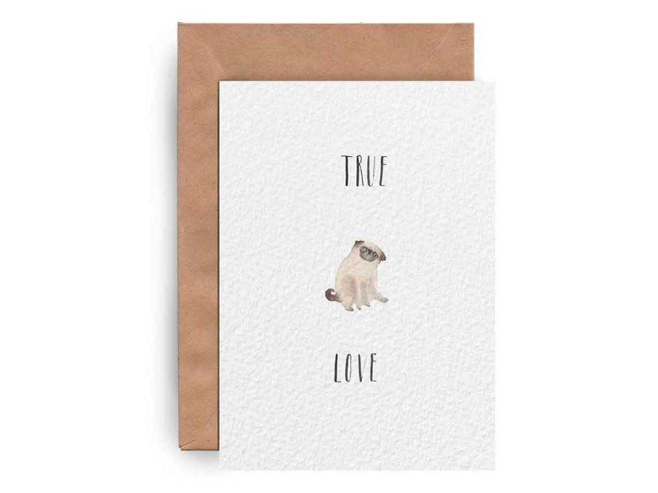 Открытка «Pug Love» для посткроссинга