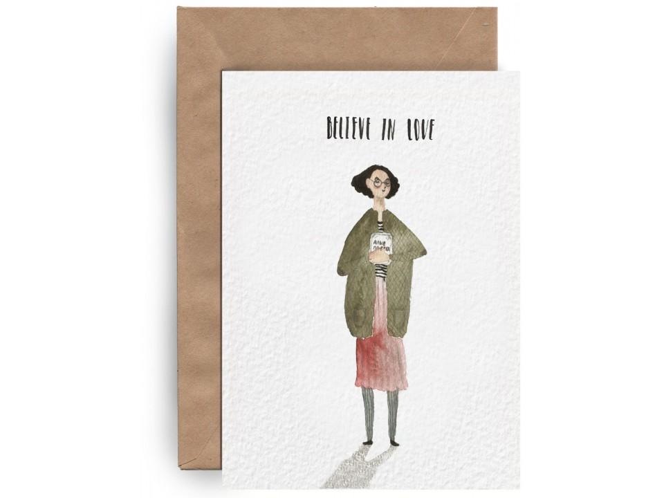 Почтовая открытка «Верить в любовь» для посткроссинга